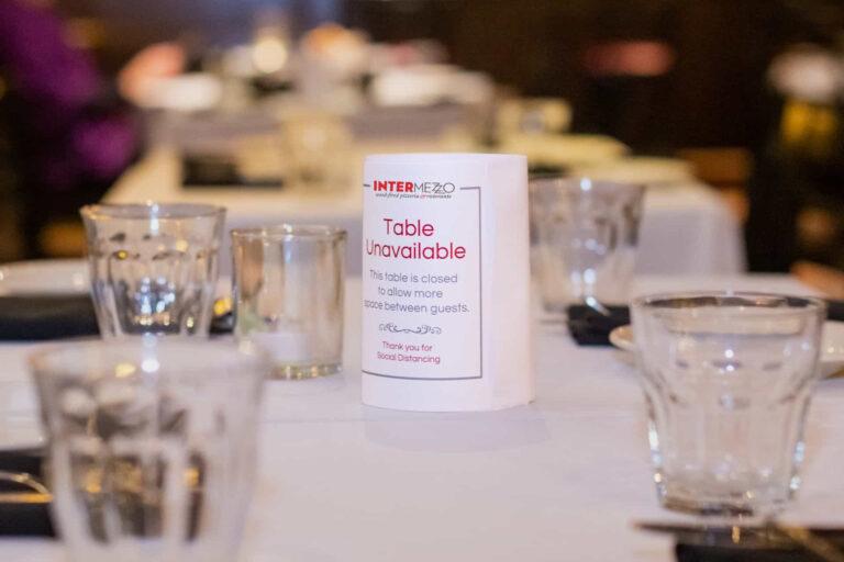 Intermezzo table tent for Covid compliance